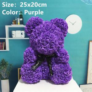 25cm-Purple-Rose-Teddy-Bear-Flower-Gift-Girlfriend-Birthday-Wedding-Valentine