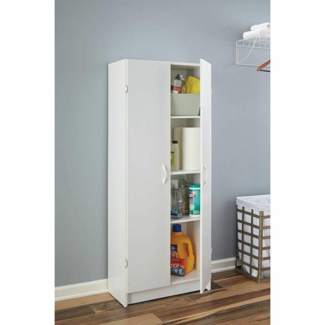White Wood Kitchen Pantry Cabinet Storage Food Cupboard Door Shelves Adjustable