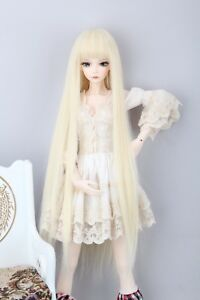 "BJD Doll Hair Wig 8-9""1/3 SD DZ DOD LUTS Blonde Long Straight Wig With Neat Bang"