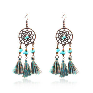 Earring-Dream-Catcher-Dreamcatcher-Turquoise-with-Tassel-Bronzefarbiges-Metal