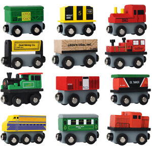 12-Pieces-Wooden-Toy-Train-Magnetic-Cars-Railway-Set-Compatible-w-Other-Tracks