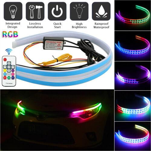 2 x 60CM RGB Slim Sequential Flexible LED DRL Turn Signal Strip Remote Headlight