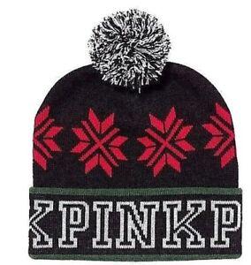 19bd83ec8 Details about PINK Nation by Victoria's Secret Beanie Knit Hat Cap Black  Winter Pom Pom