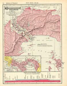 1911-Antique-PANAMA-CANAL-Map-Vintage-Isthmus-Of-Panama-Map-Original-7640