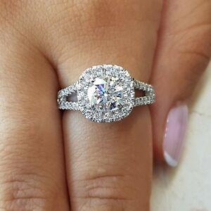 White Gold Halo Ring Halo Moissanite Engagement Ring 2.75CT Halo Engagement Ring Round Cut 14k White Gold Moissanite Ring Halo Ring