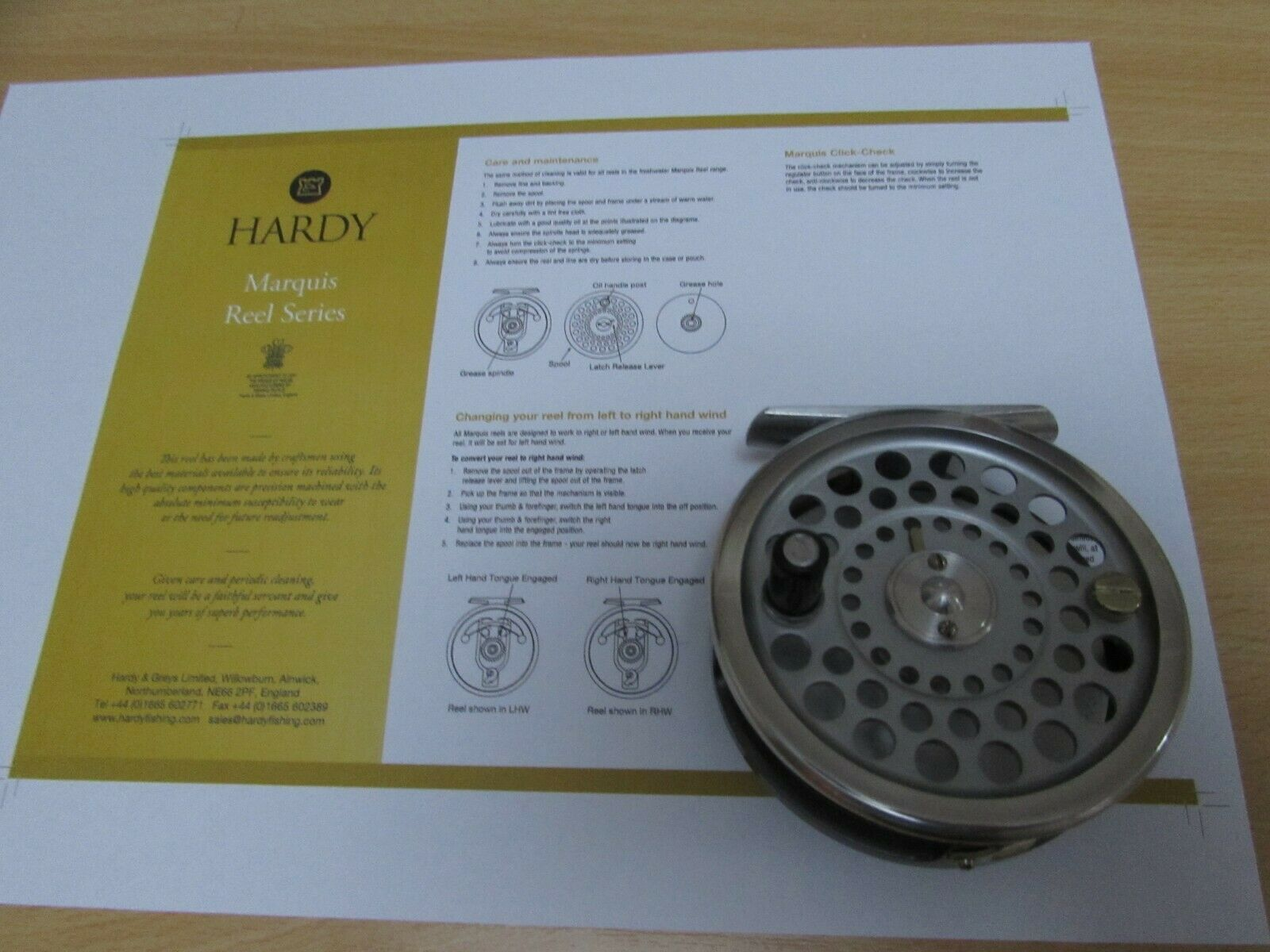 A1 vintage hardy marquis no. 5 trout fly fishing reel + case + counterbalance