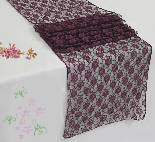 """PACK of 12 Wedding 12/"""" x 108/"""" Lace Table Runner Party Venue banquet Decoration"""