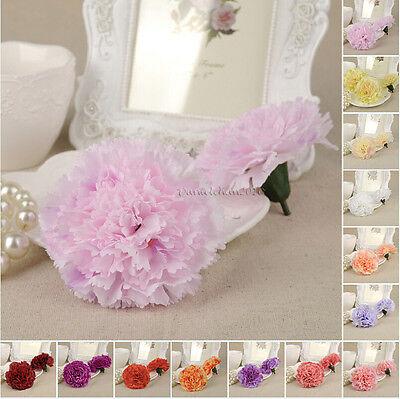 1/5/15Pcs 8cm Artificial Silk Carnation Flower Heads Home Wedding Decors Favors