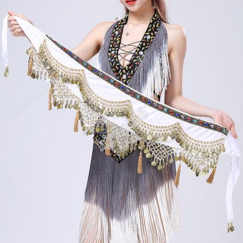 Belly Dance Costume Hip Scarf Coins Fringe Indian Belt Velvet Festival Skirt