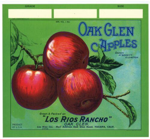 AN ORIGINAL LABEL! green OAK GLEN Vintage Yucaipa California Apple Crate Label