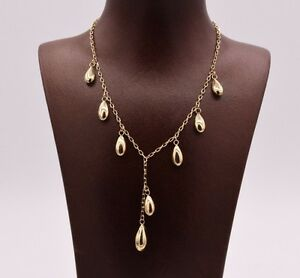Shiny-Chandelier-Ball-Drop-Pendant-Necklace-Real-10K-Yellow-Gold-Cable-Chain