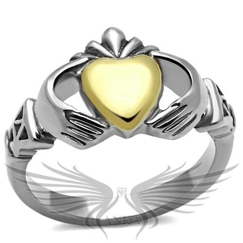Women/'s Yellow Gold IP Heart Shaped Claddagh Ring No Stone TK1157