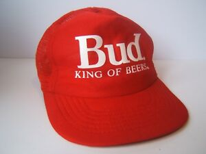 Bud King of Beers Hat Vintage Red Budweiser Beer Snapback Trucker Cap Made  USA db04e3cac6f7