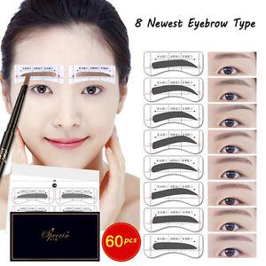 Hot 64pcs Eyebrow Template Stickers Makeup Eyebrow Stencils Drawing