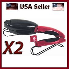NEW SET OF 2 RED & BLACK CAR SUN VISOR CLIP HOLDERS FOR SUNGLASSES & EYEGLASSES