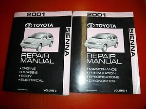 2001 TOYOTA SIENNA FACTORY CHASSIS ELECTRICAL BODY ENGINE SERVICE MANUALS OEM