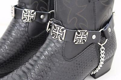 New Men Western Big Iron Cross Silver Boot Chain Pair Black Straps Shoe Bracelet