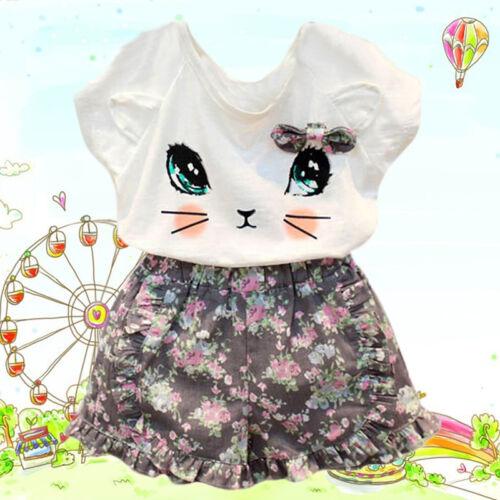 Enfant Fille Mignon Chat T-shirt tops Floral Shorts pantalon vêtements Set tenues
