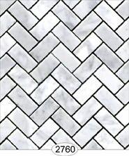 1//12 Dolls House White Herringbone METRO piastrelle in rilievo A3 DARK Stucco