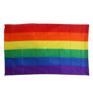 Drapeau arc-en-ciel 90 x 150cm Rainbow Gay Lesbienne Pride LGBT Polyester Flag