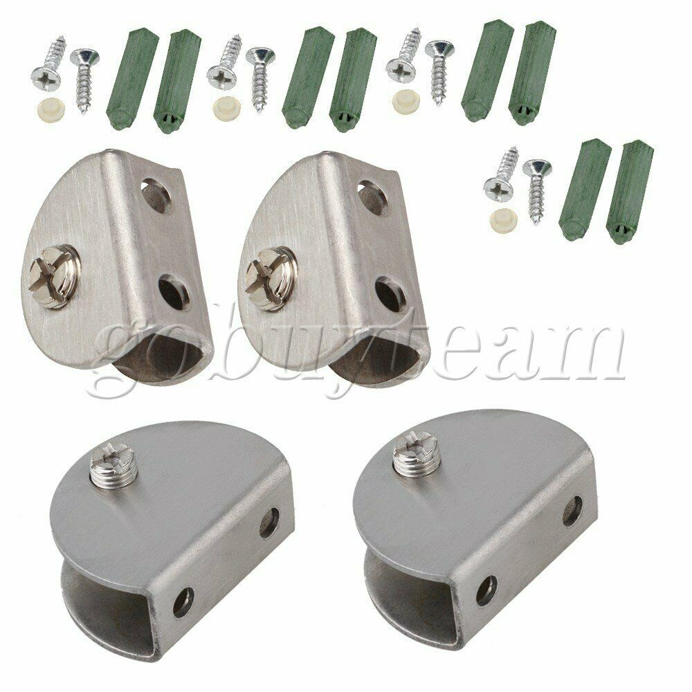 4pcs Stainless Steel 8mm Thickness Half Round Glass Clip Clamp Connector Silver