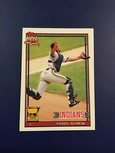 1991-Topps-165-SANDY-ALOMAR-All-Star-Rookie-Cleveland-Indians-GOLD-CUP-LOOK