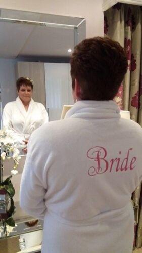 Luxury Embroidered Bride wedding White ladies fleece robe dressing gown FANCY
