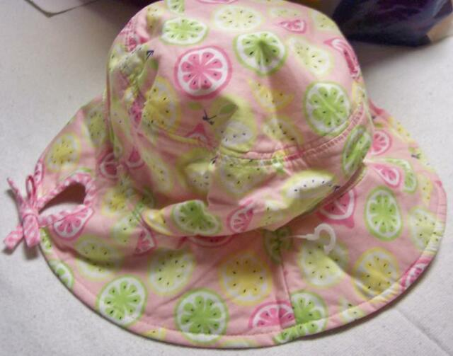 NWT girls 5 6 7 Gymboree LEMONY FRESH reversible hat fruit & pink gingham check