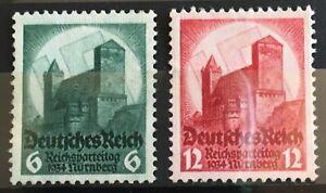 Germany 1934 3rd Reich Mi 546 - 7 Sc 442 - 3  Nuremberg Party Rally ** MNH