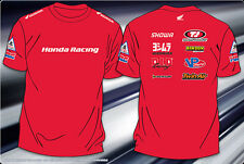 "Honda Motor Sports T-Shirt Red Cotton Screen Printed Honda Color Logos 2X ""SALE"""