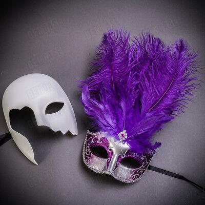 Venetian Musical Style Masquerade Mask Phantom Mask Half Face Mask Silver//purple