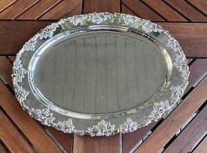 GSA Godinger Silver Art Co Ltd Plaqué Argent Serving Plateau Ovale Miroir Vanity