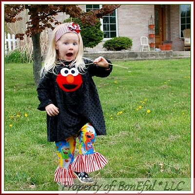 BonEful RTS NEW Boutique Baby Girl 2 Sesame Street ELMO Top Pants Set Lot Outfit