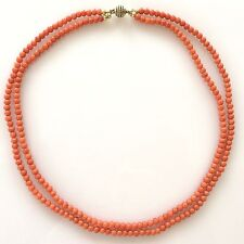 Vtg Sterling Silver Salmon Red Coral Necklace Antique Gold Vermeil 2 Strand