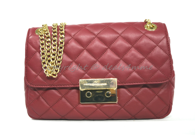 acc03d5f9737 Michael Kors Large Sloan Quilted Leather Chain Shoulder Bag Cherry ...