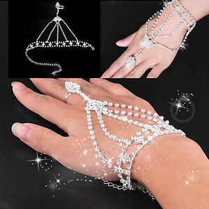 Hot-Sale-Women-039-s-Jewelry-Rhinestone-Hand-Bangle-Chain-Link-Finger-Ring-Bracelet