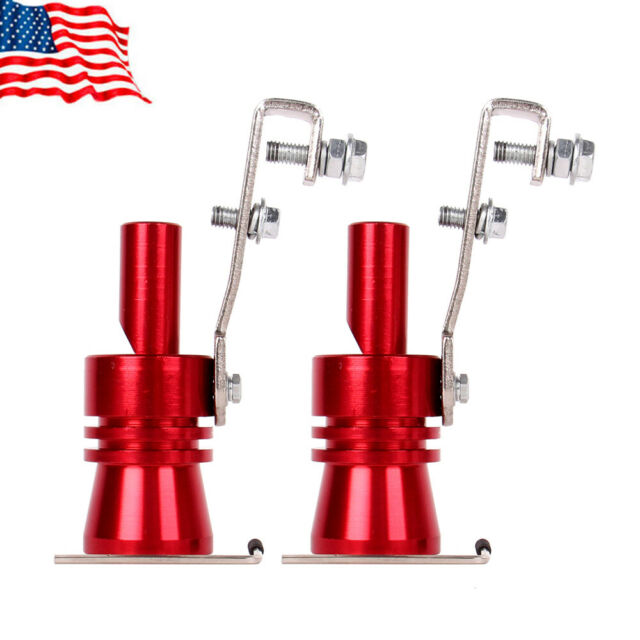 2 × Exhaust Pipe Oversized Roar Maker Car Turbo Sound Whistle Simulator XL Red