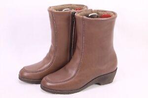 C246-Damen-Lammfellstiefel-Boots-Leder-braun-Gr-38-Stiefeletten-ungetragen