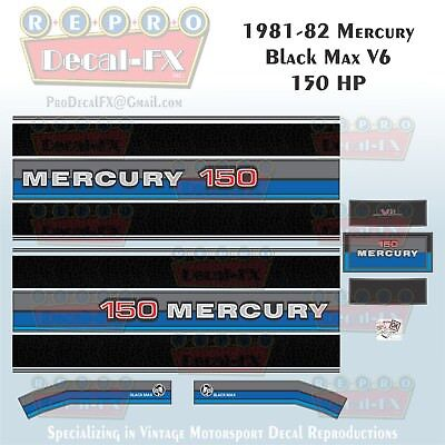 150hp OUTBOARD  DECALS MERCURY BLACKMAX