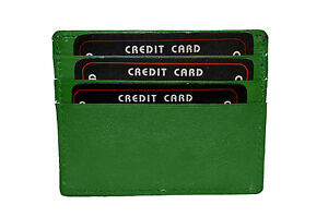 SINGLE PIECE GREEN CREDIT CARD HOLDER WITH MIDDLE POCKET GENUINE LEATHER