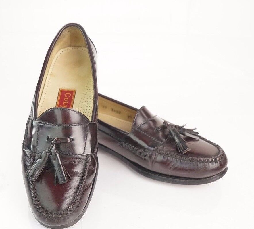 4ea0ea2d225f81 Burgundy COLE HAAN City Tassel Toe Loafers 7.5 D Medium Moc. Mens ...