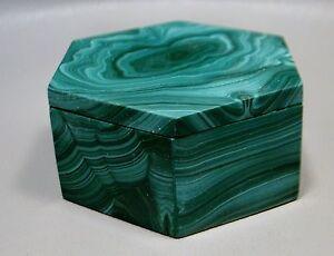 Stone Trinket Box Malachite Hexagon Shaped Green Gemstone Jewlery Box #6