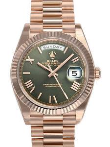 Rolex-Day-Date-228235-President-40mm-Everose-Gold-Green-Roman-Dial