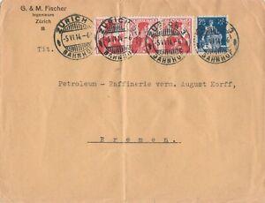 Briefumschlag-Jahr-1914-verschickt-von-Zuerich-nach-Bremen-wertvolle-Frankatur