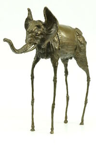 Art-Deco-Hot-Cast-By-Lost-wax-Method-Space-Elephant-Animal-Rare-Bronze-Sculpture