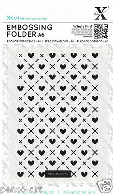 "Papermania A6 embossing folder 4x6"" Hearts and kisses Love heart valentine"