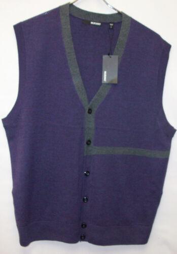 Murano 100/% Extra Fine Merino Wool Cardigan Sweater Vest Purple /& Gray  $150 NWT
