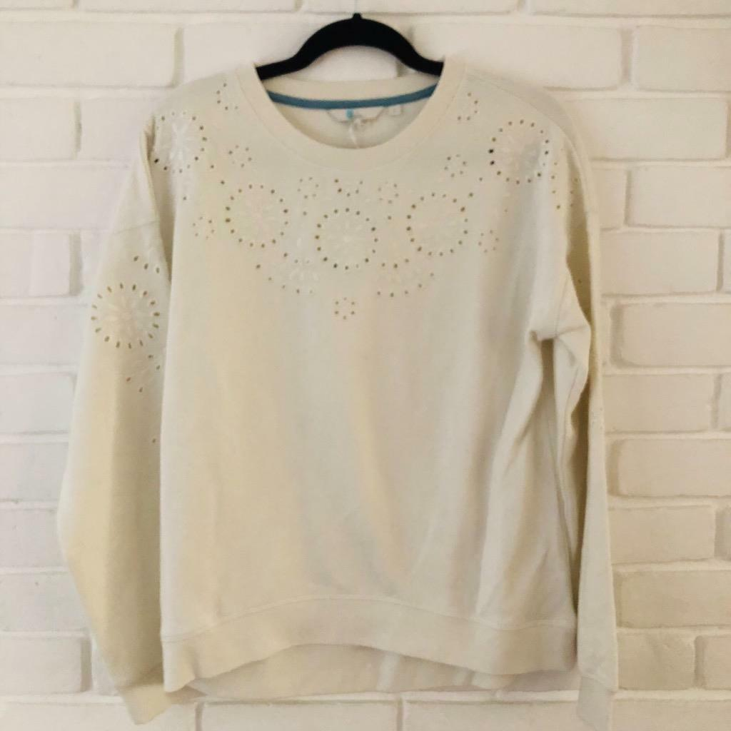 BODEN BNWT White Broderie Anglaise Soft Sweater Jumper Size Small S