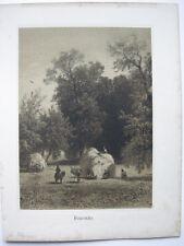 Albert Flamm (1823-1906) Heuernte Orig Lithografie 1900 Düsseldorfer Schule