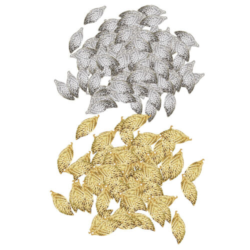 200pcs Filigree Maple Leaf Charms Pendant Silver Gold Plated for Crafting